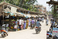 Editorial illustrative image. Market place at Pondichery Royalty Free Stock Images