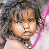Editorial illustrative image. Sad poor kid, India Royalty Free Stock Photos