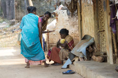 Editorial illustrative image. Scene of life in India. Illustrative image. Pondicherry, Tamil Nadu, India - April 21, 2014. Scenes of life in small poor villages Royalty Free Stock Image