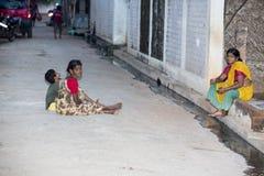 Editorial illustrative image. Scene of life in India. Illustrative image. Pondicherry, Tamil Nadu, India - April 21, 2014. Scenes of life in small poor villages Stock Photo