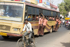 Editorial illustrative image. School childen in bus India Royalty Free Stock Photography