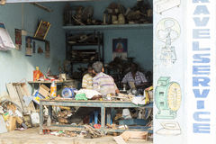 Editorial illustrative image. Shops in the street Stock Image