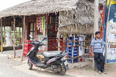Editorial illustrative image. Shops in the street Stock Photo