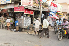 Editorial illustrative image. Shops in the street Stock Images