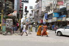 Editorial illustrative image. Shops in the street Stock Photography