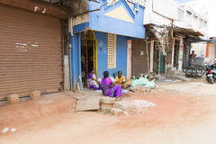Editorial illustrative image. Shops in the street. Illustrative image. Pondichery, Tamil Nadu, India - Marsh 10, 2014. Shop open in the street for different Royalty Free Stock Image
