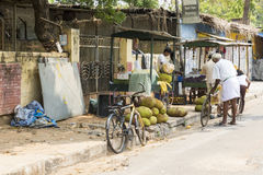 Editorial illustrative image. Shops in the street. Illustrative image. Pondichery, Tamil Nadu, India - Marsh 10, 2014. Shop open in the street for different Royalty Free Stock Photography