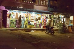 Editorial illustrative image. Village by night in India Stock Photography
