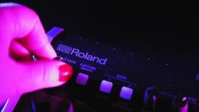 editorial illustrator Roland v 8 HD video mixer female hand configures programs