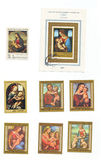 Editorial image: a collection of  stamps from 1970s with Mary and Jesus Stock Images
