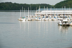 Editorial: Joe Wheeler State Park Alabama Marina and river. Editorial: Joe Wheeler State Park Alabama Marina with boats docked. Tennessee River tributary with Royalty Free Stock Images