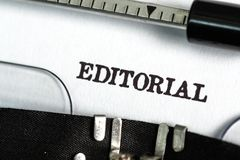 Editorial. Journalist Typewriter Writing Report Typescript The Media Stock Photography
