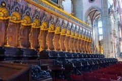 Editorial. June, 2019. Venice, Italy. The choir of the Frari in the interior of the Basilica di Santa Maria Gloriosa dei Frari. Editorial. June, 2019. Venice stock image