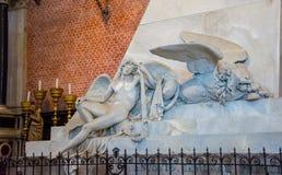 Editorial. June, 2019. Venice, Italy. Fragment of the monument dedicated to Canova in the interior of the Basilica di Santa Maria. Gloriosa dei Frari. The royalty free stock image