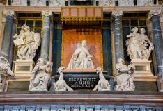 Editorial. June, 2019. Venice, Italy. Monument dedicated to the Doge Giovanni Pesaro in the interior of the Basilica di Santa. Maria Gloriosa dei Frari at the stock images