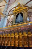 Editorial. June, 2019. Venice, Italy. The Organ and the choir of the Frari, the perfect distribution of the sections in the. Interior of the Basilica di Santa royalty free stock photos