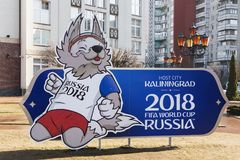 editorial Kaliningrad, kwiecień 04, 2018: logo puchar świata FIFA 2018 w Rosja Obraz Royalty Free