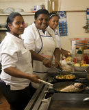 Editorial kitchen staff working Corn Island Nicaragua Stock Images