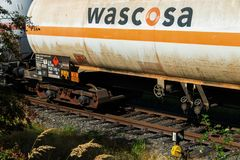 Editorial: 09.07.2018 Krefeld, Germany: Rail transportation of flammable gas. In europe royalty free stock images