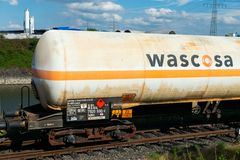 Editorial: 09.07.2018 Krefeld, Germany: Rail transportation of flammable gas. In europe royalty free stock photography