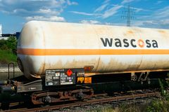 Editorial: 09.07.2018 Krefeld, Germany: Rail transportation of flammable gas. In europe stock photos