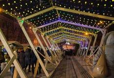 editorial Kyiv/Ucrânia - janeiro, 13, 2018: Decorações do Natal em Sophia Square no centro de Kiev, Ucrânia fotografia de stock
