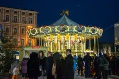 editorial Kyiv/Ucrania - enero, 13, 2018: ` S del Año Nuevo justo en Sophia Square Fotografía de archivo