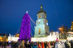 Editorial. Kyiv/Ukraine - January, 13, 2018: New Year`s Fair on Sophia Square. Christmas tree and Christmas decorations on Sophia Square in the center of Kiev Stock Photo