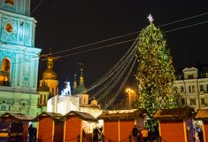 Editorial. Kyiv/Ukraine - January, 13, 2018: New Year`s Fair on Sophia Square. Christmas tree and Christmas decorations on Sophia Square in the center of Kiev Royalty Free Stock Photography