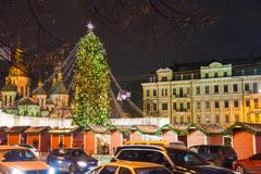 Editorial. Kyiv/Ukraine - January, 13, 2018: New Year`s Fair on Sophia Square. Christmas tree and Christmas decorations on Sophia Square in the center of Kiev Royalty Free Stock Photo