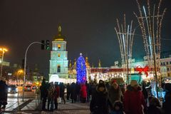 Editorial. Kyiv/Ukraine - January, 13, 2018: New Year`s Fair on Sophia Square. Christmas tree and Christmas decorations on Sophia Square in the center of Kiev Stock Image