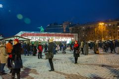 Editorial. Kyiv/Ukraine - January, 13, 2018: New Year`s Fair on Sophia Square near a monument of Bogdan Khmelnitsky. In the center of Kiev, Ukraine Stock Images