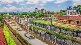 Editorial, lapso de tiempo de la vista de pájaro en la estación de Yogyakarta, Indonesia metrajes