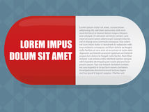 Editorial layout medicine. Editorial layout made up of a pill medicine Stock Image