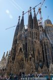 editorial Maj 2018 Fasada Sagrada Familia, Barcelona, Hiszpania obraz stock