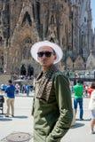 editorial Maj 2018 Fasada Sagrada Familia w lecie w Barc obraz royalty free