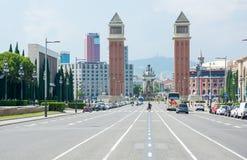 editorial Maj, 2018 Góra Montjuic, Barcelona, Hiszpania Widok zdjęcia stock
