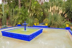 Blue fountain with tropical vegetation in the Majorelle Garden