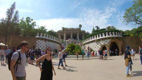 Editorial. May 2018. Barcelona, Spain. Main staircase at the entrance in Guell Park stock video footage