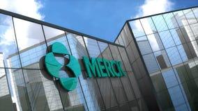 Editorial MERCK & Co logo on glass building.