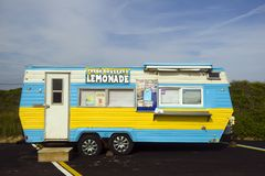 Editorial Montauk lemonade truck. MONTAUK, NY-JUNE 8: A lemonade and ice cream wagon is seen in parking lot in Montauk, New York by popular surfing Ditch Plains Stock Images