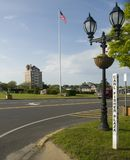 Editorial Montauk, New York village green. MONTAUK, NEW YORK-JUNE 8: The village Green Carl Fisher Plaze and Montauk Highway is seen in downtown Montauk, New Stock Photos