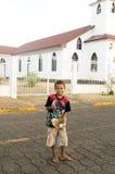 Editorial native boy baseball Corn Island Nicaragua Royalty Free Stock Image