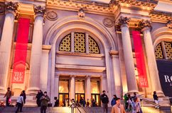 Editorial: New York City, New York / USA, 8th November 2017. The Metropolitan Museum of Art in New York at night