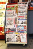 Editorial.  Newspaper headlines in France on 25 Nov. 2015 after Paris attacks. Royalty Free Stock Image