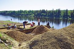 A group of scientists is conducting archaeological excavations in Siberia. Editorial.Nyaksimvol village Beryozovsky district of the Khanty-Mansiysk Autonomous Stock Photos