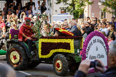 Editorial, 4 October 2015: Barr, France: Fete des Vendanges. Fancy-dress holiday and festival with orchestras and flowered carts Royalty Free Stock Image