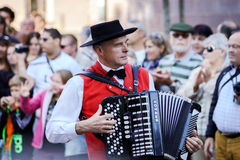 Editorial, 4 October 2015: Barr, France: Fete des Vendanges. Fancy-dress holiday and festival with orchestras and flowered carts Royalty Free Stock Photo