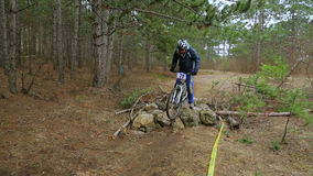 EDITORIAL. One Cyclist On Mountain Bike Moving In