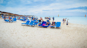 Editorial Panorama of Malia Las Dunas Hotel Beach in Cuba. Stock Image